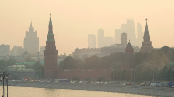 Panorama Of Moscow In Summer Sunset With Smog