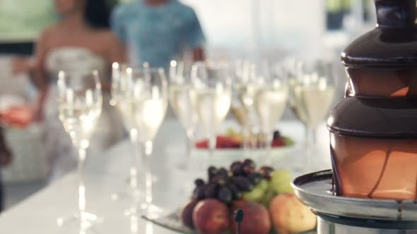 Thumbnail for Fondue Pot And Wine Glasses With Fruit