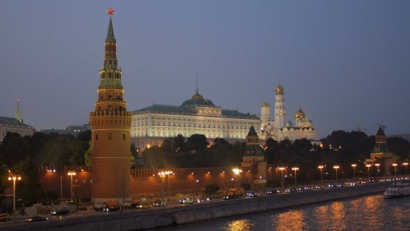 Thumbnail for Twilight View Of Embankment Of Moscow River And Moscow Kremlin With Ruby Stars