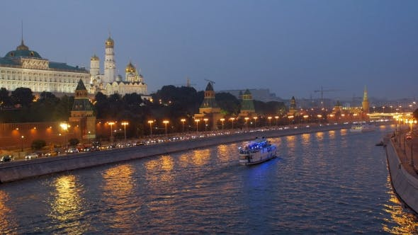 Thumbnail for Pleasure Craft Moving Over Moscow River In Twilight Time