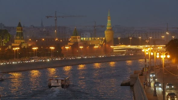 Thumbnail for View Of Moscow River In Twilight Time Along Embankment With Pleasure Craft, Car Traffic