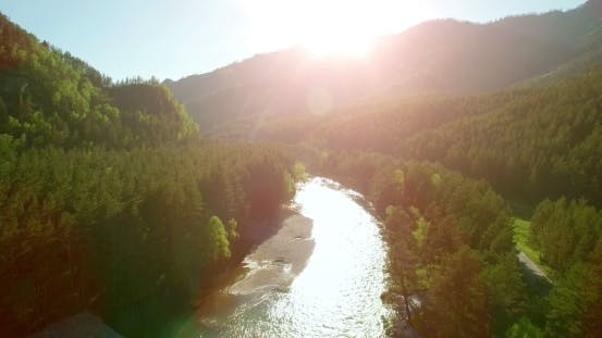 Cover Image for Low Flight Over Fresh Cold Mountain River At Sunny Summer Morning.