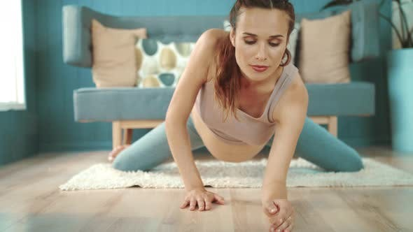 Thumbnail for Close Up Young Pregnant Woman Practicing Yoga. Belly Mother Stretching on Floor