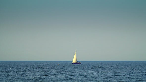 Thumbnail for Yacht With Sails Floating on the Sea