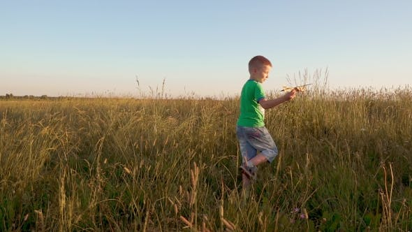 Thumbnail for Boy In Wheat Field Playing With a Toy Plane