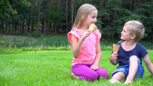 Thumbnail for Kids Eating Icecream Outdoors