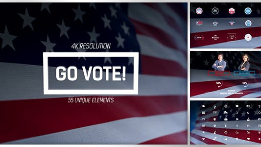 Go Vote/ USA Election/ Republicans and Democrats/ Flag of America President Senate/ Independence Day