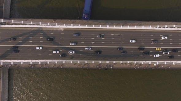 Thumbnail for Krymsky Bridge Aerial View Car Traffic