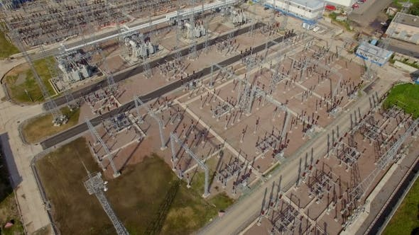 Thumbnail for Aerial View Of Electrical Power Substation In The City