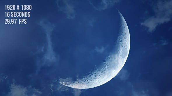 Thumbnail for Dreamy Crescent Moon with Soft Clouds