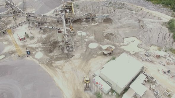 Aerial View Of a Sandstone Quarry With Processing Lines