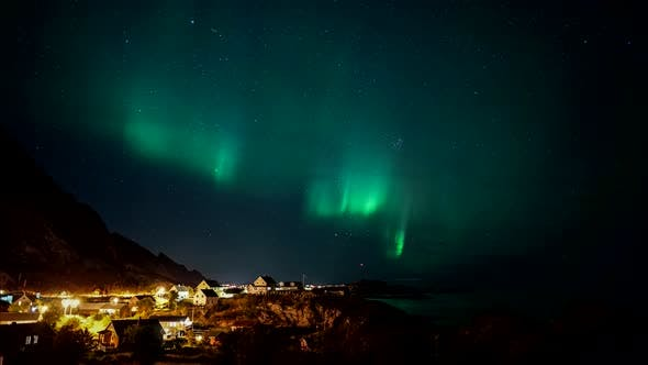 Thumbnail for Aurora Borealis over city, Norway