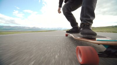 Skateboarder Boy Riding Outdoor