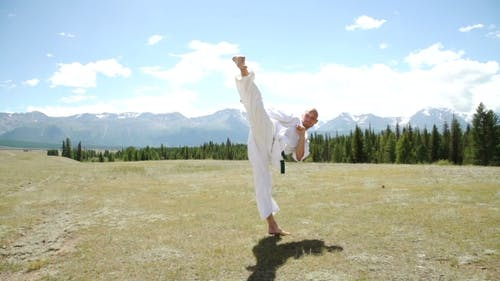 Man And Kung Fu On Nature.