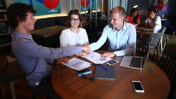 Thumbnail for Young Smart Business Team Shaking Hands Agree Make Pact