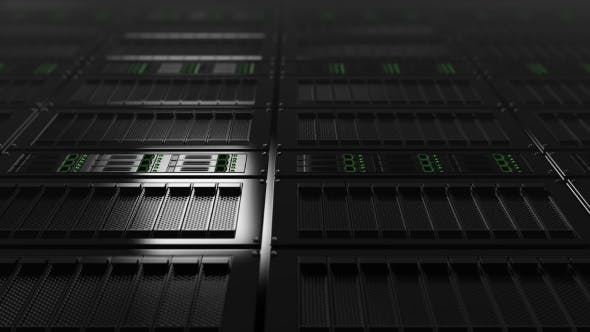 Cover Image for Modern Server Room, Low Angle View. Seamless Loop Able  Clip