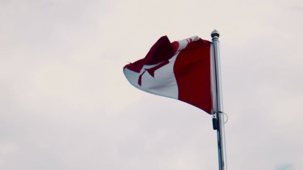 Canada Flag Flying From a Flagpole