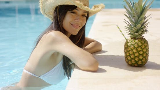 Thumbnail for Pretty Trendy Young Woman In a Summer Pool