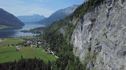 Aerial of Grundlsee, Austria, Salzkammergut