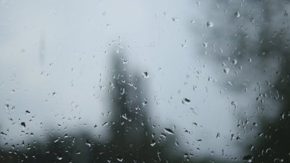 Thumbnail for Of Water Droplets On Glass. Rain Drops On Window Glass With Blur Background. Blurred Tree And Sky