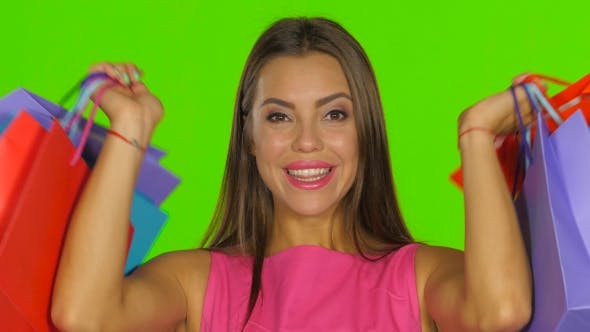 Thumbnail for Woman Had a Successful Shopping And Smiling. Green Screen.