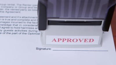Girl Approves a Document For Collaboration And Puts a Stamp.