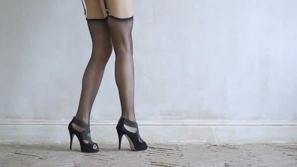 Thumbnail for Sexy Girl Walking on the Floor in Black Lingerie