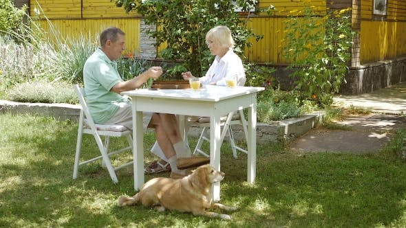 Woman And Man Playing Backgammon And Talk.