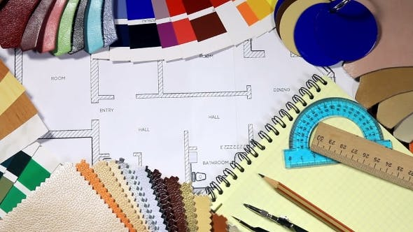 Thumbnail for Color Samples Of Architectural Materials And Architectural Drawings