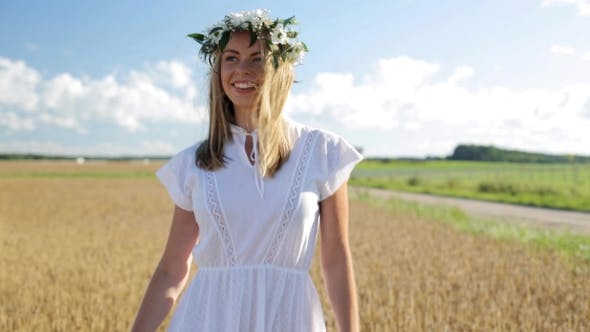 Thumbnail for Happy Young Woman In Flower Wreath On Cereal Field 25