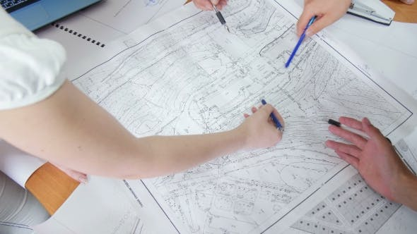 Thumbnail for Architect Hand With Pencil Drawing Blueprints