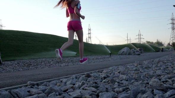 Thumbnail for Runner Woman Running In Park Exercising Outdoors.