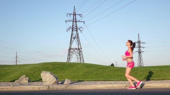 Thumbnail for Sport Workout Outdoors. Sport Woman Running.