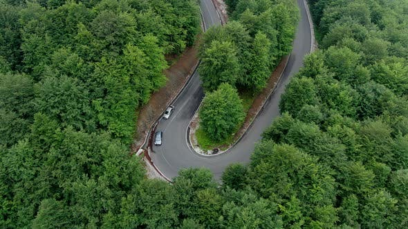 Cover Image for Mountain Road Through the Forest Aerial