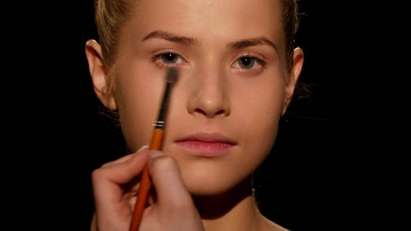 Thumbnail for Professional Make-up Artist. Make-up Artist Doing Make-up. Black.