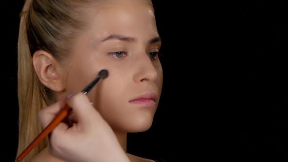 Thumbnail for Applying Highlighter. Makeup. Black.