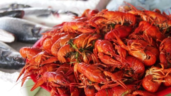 Boiled Red Crayfish On The Counter Fish Market