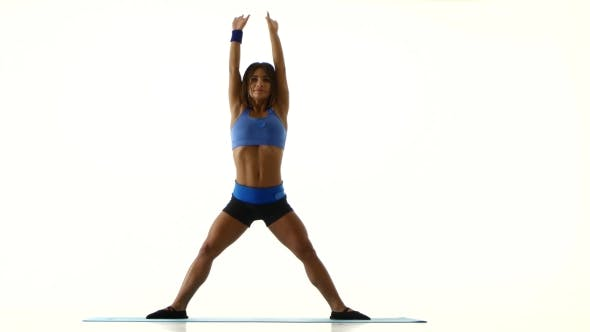 Thumbnail for Athlete Bends The Body On The Fitness. White