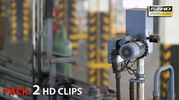 Industrial Operating Automated Machine Line in Manufacturing Process at Plant. Pack 2 Clips.