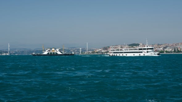 Thumbnail for Istanbul. Sea Traffic In Bosphorus Strait.