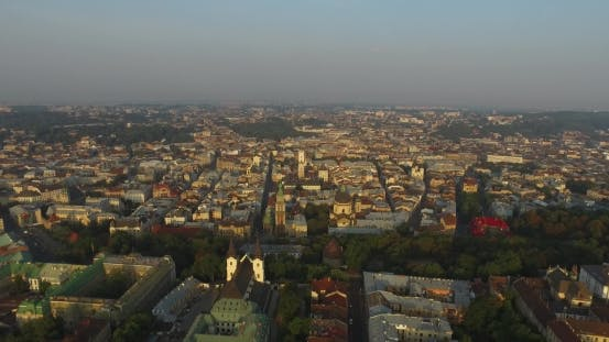 Thumbnail for Aerial Old City Lviv, Ukraine. Central Part Of Old City. European City