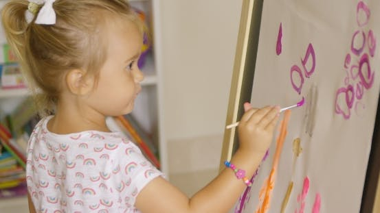 Thumbnail for Creative Little Girl Painting In a Playroom
