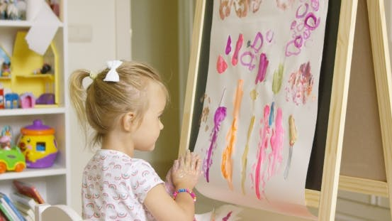 Thumbnail for Artistic Little Girl Painting a Creative Design