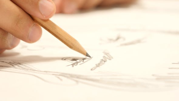 Thumbnail for Artist Drawing a Sketch, Close Up