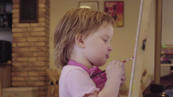 Thumbnail for The Little Girl Paints On a Canvas, Leaving And Waiting For Approval.