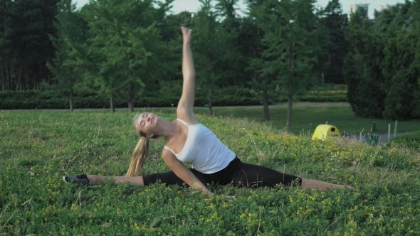 Thumbnail for Young Slender Blonde In Shirt Performs Exercise Incline On The Hill With Green Grass In The Park.