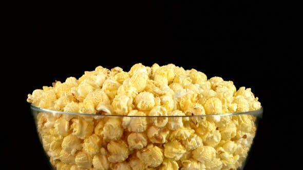 Thumbnail for Popcorn In Glass Bowl On Black, Rotation