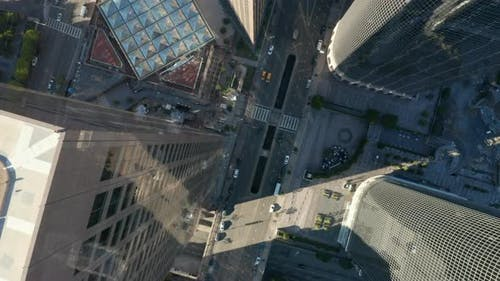 AERIAL: Epic Slow Lowering and Circling Birds Eye View Over Downtown Los Angeles California in
