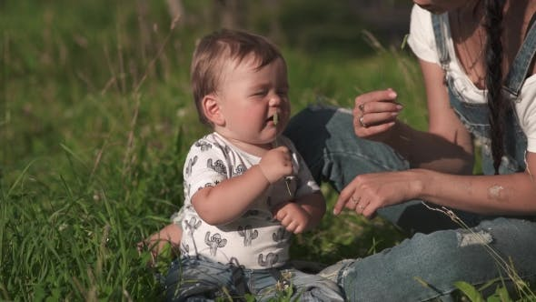 Thumbnail for Mother With Cute Baby At Outdoor