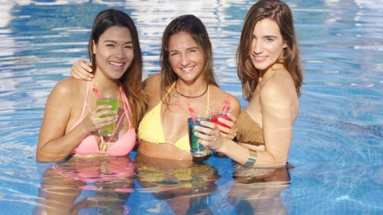 Cover Image for Three Happy Sexy Female Friends In a Pool